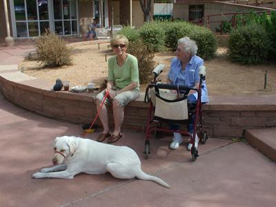 Marilyn, Mom and Luna relaxing in Pueblo