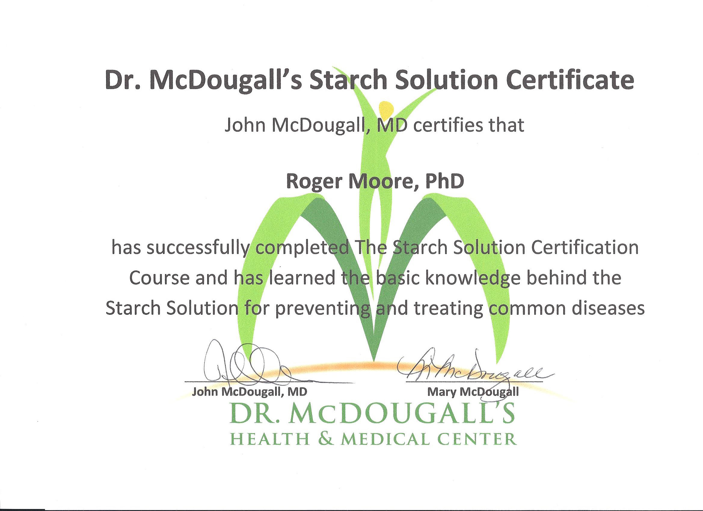 Starch Solution Certification