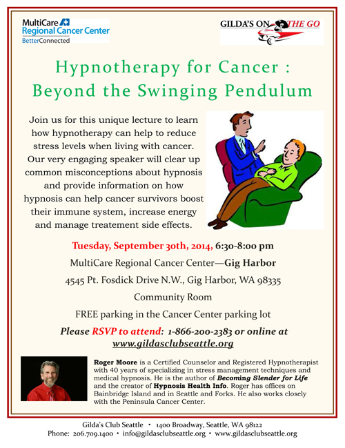 Hypnotherapy for Cancer with Roger Moore SEPT 2014 MultiCare GIG HARBOR